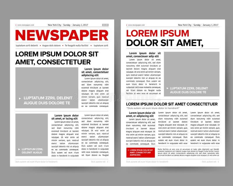 Mallen för dagstidningtidskriftsdesignen med två-sidan som öppnar redigerbara rubriker, citerar textartiklar och avbildar vektore royaltyfri foto