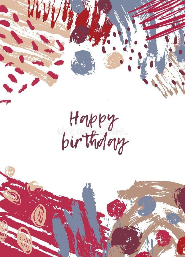 Mallen för hälsningkortet med önska för lycklig födelsedag och abstrakta färgrika målarfärgfläckar, fläckar, klottrar på, borstar vektor illustrationer