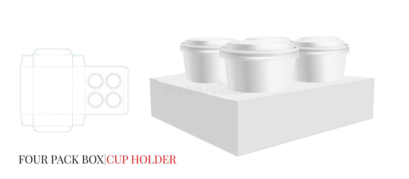Mallen för kopphållaren, vektor med stansade /laser klippte lager Illustration för kaffekopphållare Kopp för fyra packe, exponeri vektor illustrationer