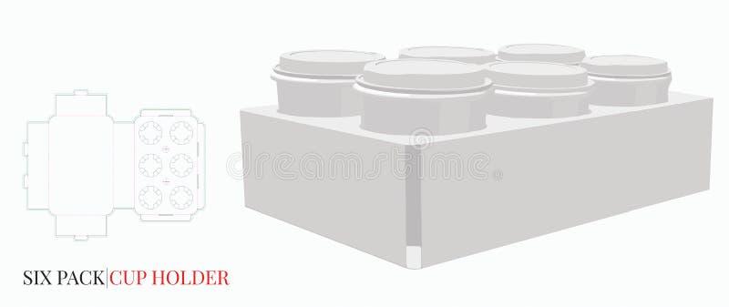 Mallen för kopphållaren, vektor med stansat/laser klippte lager Kaffekopphållare, sex packekopp, exponeringsglas, ölhållareillust stock illustrationer