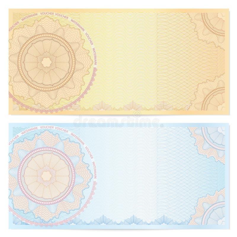 Mallen för kupongen (kupong) med guilloche mönstrar vektor illustrationer