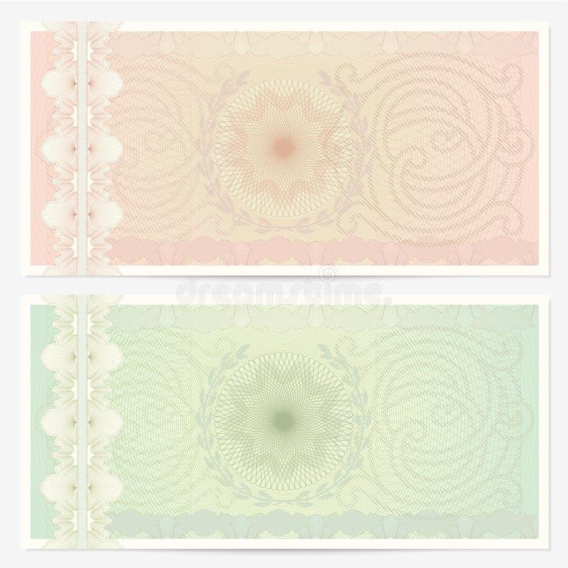 Mallen för kupongen (kupong) med guilloche mönstrar stock illustrationer