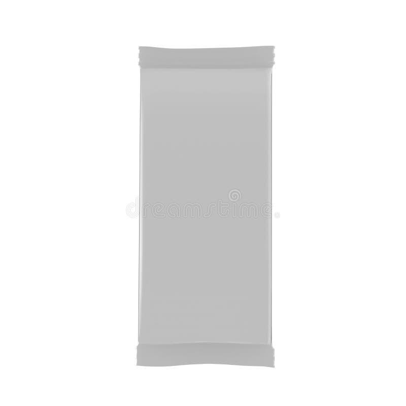 Mallen för modellen för mellanmålfoliepåsen på isolerad vit bakgrund, ordnar till för din design, illustrationen 3D stock illustrationer