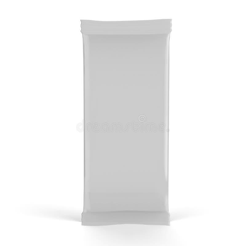 Mallen för modellen för mellanmålfoliepåsen på isolerad vit bakgrund, ordnar till för din design, illustrationen 3D royaltyfri illustrationer