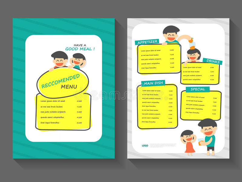 Mallen a4 för orienteringen för matfrukostmenyn sänker designuppsättningen, mat med mallen för tecknad filmmatmenyn royaltyfri illustrationer