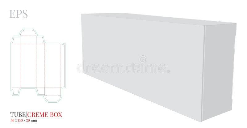 Mallen för rörkrämasken, vektor med stansat/laser klippte lager Vitt klart, mellanrum, isolerad åtlöje för rörkrämask upp vektor illustrationer