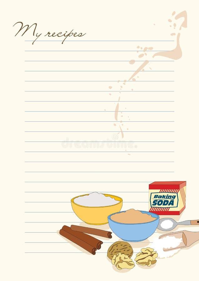 Mallen för recept med föreställer av natriumbikarbonat, mjöl…, vektor illustrationer