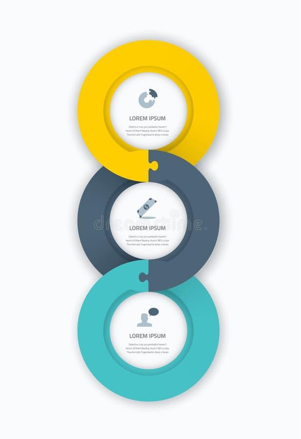 Mallen för rengöringsduken för den Infographic cirkeltimelinen för affär med symboler och pusslet lappar figursågbegrepp Enorm pl stock illustrationer