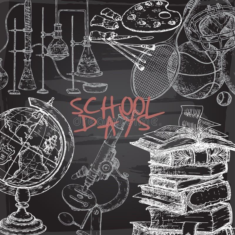 Mallen för skoladagar med konst, sporten, vetenskap, litteratur gällde objekt på svart tavlabakgrund stock illustrationer