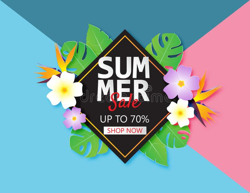 Mallen för sommarförsäljningsbanret med papper klippte tropiska sidor och blomman på bakgrund för pastellfärgad färg stock illustrationer