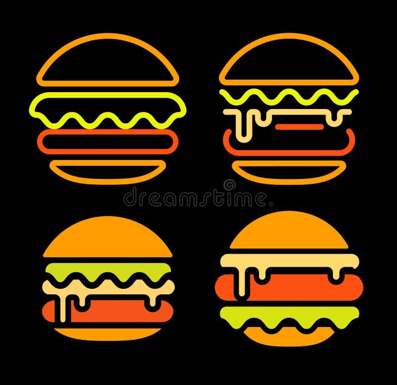 Mallen för uppsättningen för logoen för vektorn för hamburgareabstrakt begreppöversikten, den snabbmat isolerade neonlinjen konst vektor illustrationer