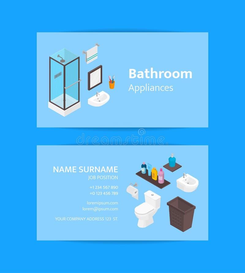 Mallen för vektoraffärskortet för badrumanordningar och möblemang shoppar eller badar tillbehör Isometrisk duschcabine stock illustrationer