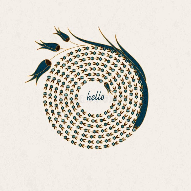 Mallen för vektorhälsningkortet med det spiral blommadiagramet den drog tulpan och handen uttrycker hälsningar inom stock illustrationer