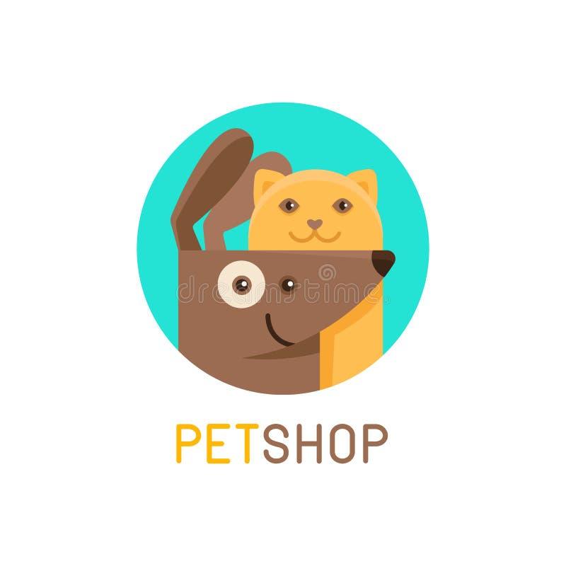 Mallen för vektorlogodesignen för älsklings- shoppar, veterinär- kliniker royaltyfri illustrationer