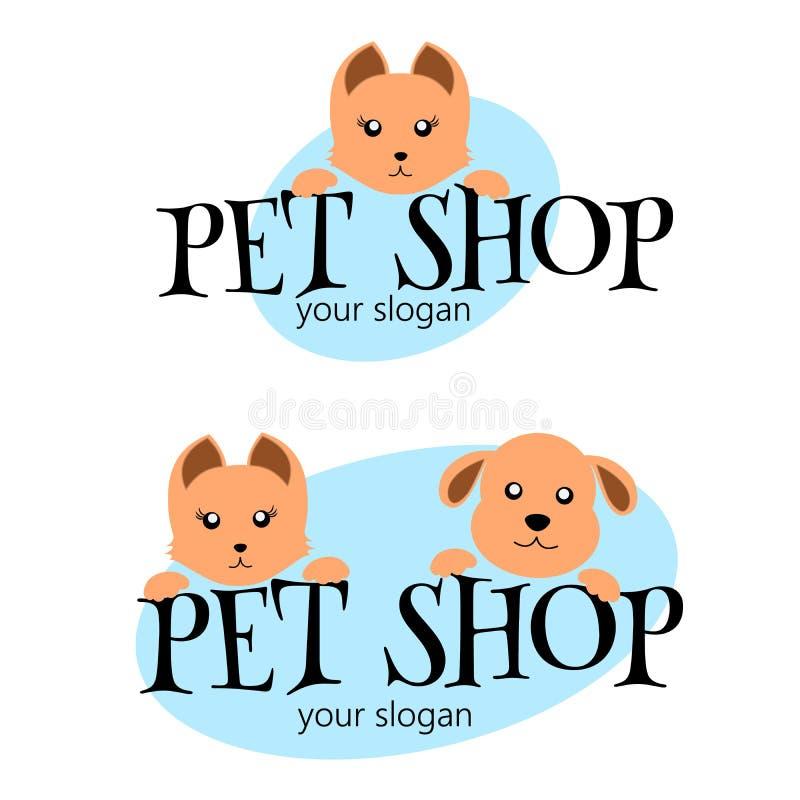 Mallen för vektorlogodesignen för husdjur shoppar, veterinär- kliniker och djura skydd Rolig tecknad filmlogoillustration Vektorl vektor illustrationer