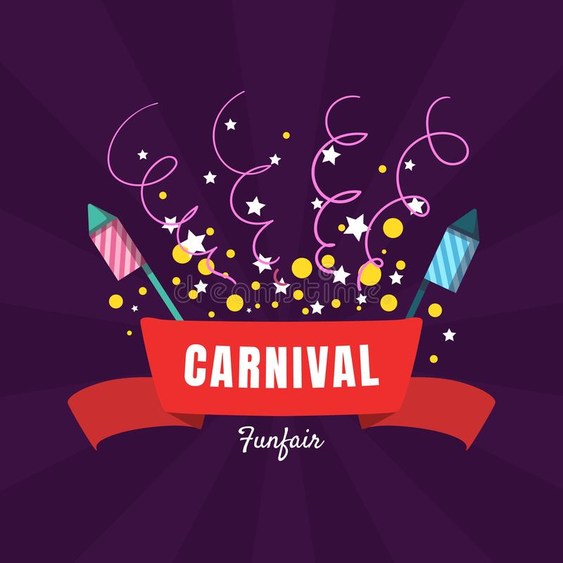 Mallen f?r karnevalFunfairbanret, n?jesf?ltaffischen, designbest?ndsdel kan anv?ndas f?r inbjudankortet, reklambladet, kupong royaltyfri illustrationer
