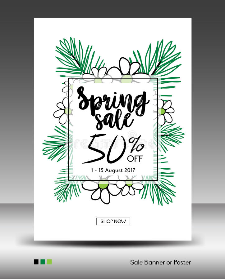 Mallen fjädra för den Sale baner- eller affischorienteringen, djungelblad stock illustrationer