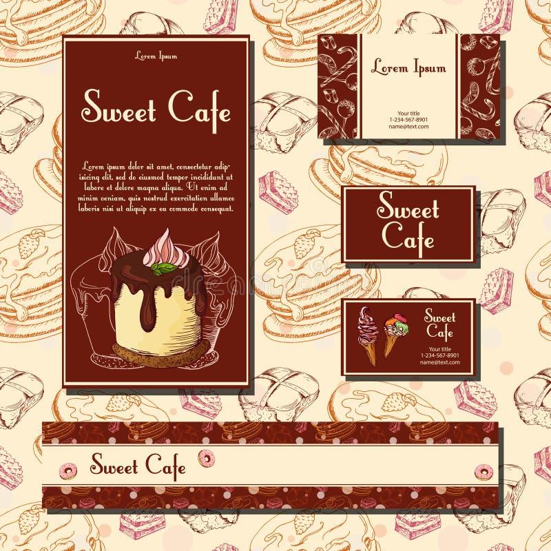Mallen med den drog handen skissar bagerit Efterrättkort med det söta bagerit Vara kan använd identitetsstil för kafé eller resta vektor illustrationer