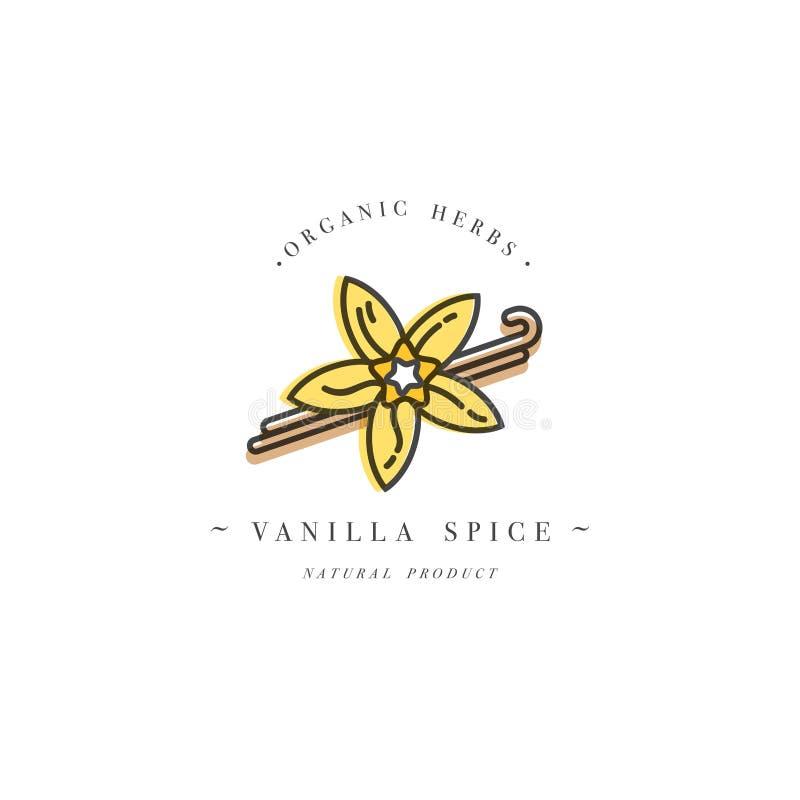 Mallen och emblemet för förpackande design - örten och kryddan - vanilj blommar och fröskidor Logo i moderiktig linjär stil royaltyfri illustrationer