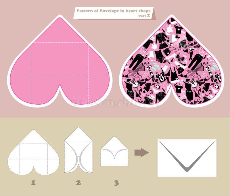 Mallen och intrigen av kuvertet i hjärta formar vektor illustrationer