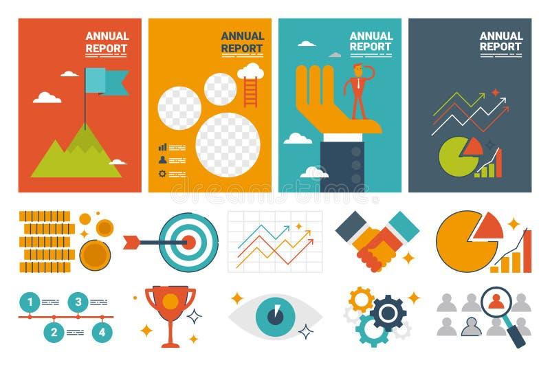 Mallen och lägenheten för ark för årsrapporträkning A4 planlägger symbolselem royaltyfri illustrationer