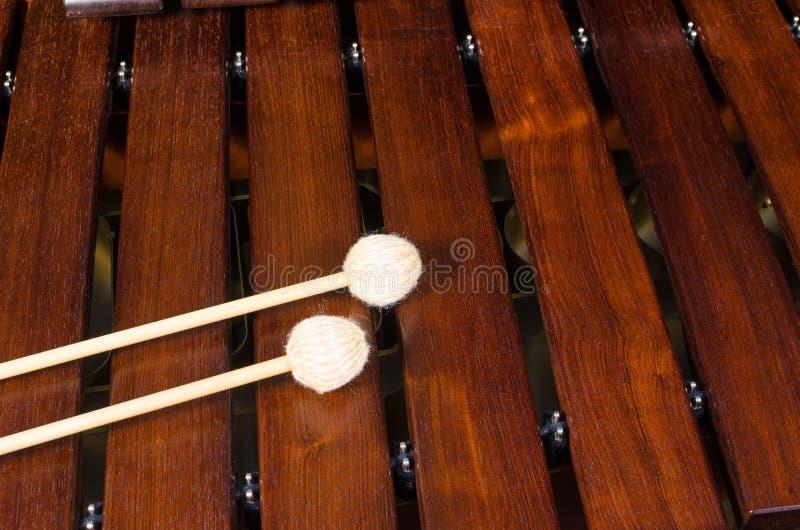 Mallets on marimba stock images