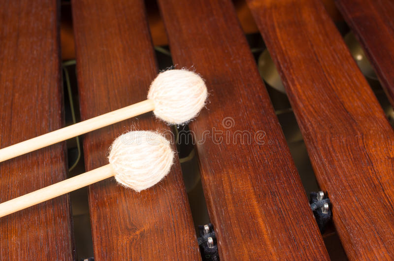 Mallets on marimba, percussion instrument royalty free stock images