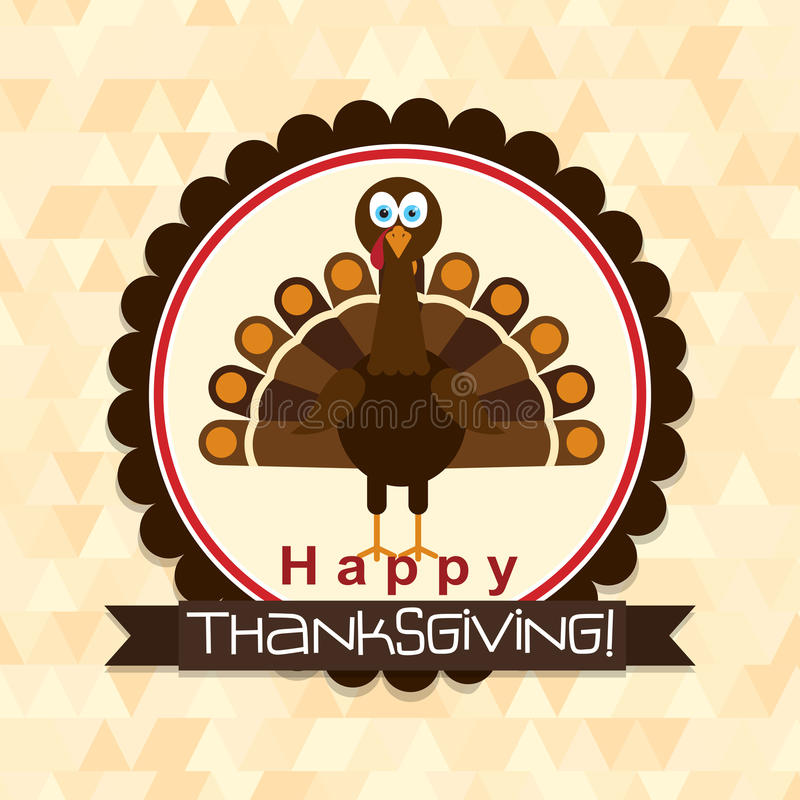 Mallhälsningkort med en lycklig tacksägelsekalkon, vektor stock illustrationer