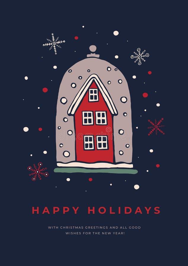 Mallhälsningkort med etttäckt hus och snöflingor på mörk bakgrund royaltyfri illustrationer