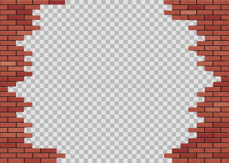 Mallhål i vägg för röd tegelsten isolerat på en genomskinlig bakgrund vektor illustrationer