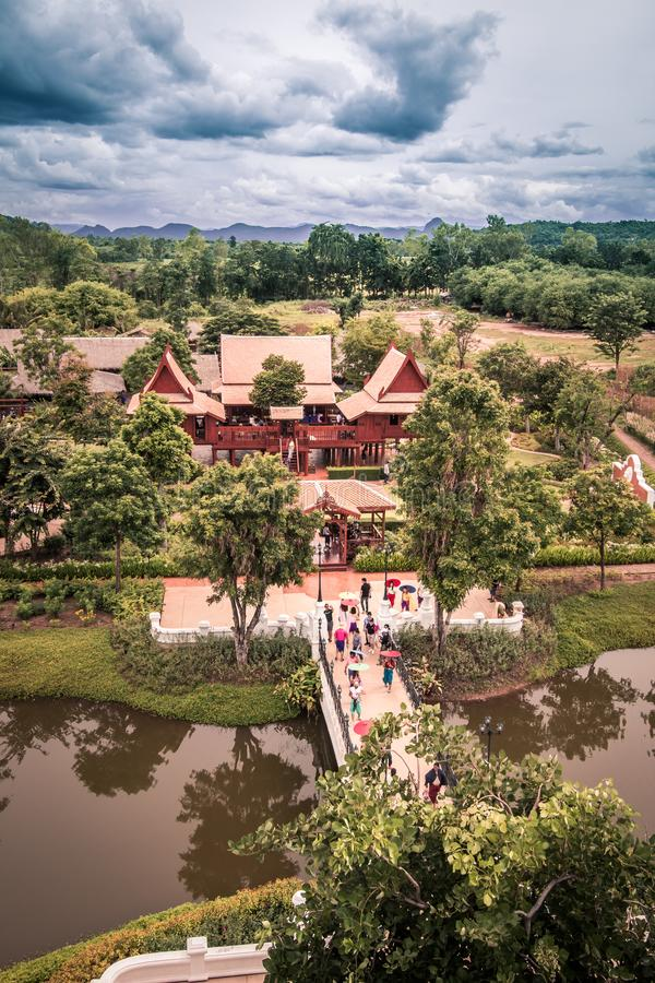 Saiyok district,Kanchanaburi province,Thailand on July 9,2017:Views from City Tower of Mallika City,1905 A.D.City of culture and. Mallika City,1905 A.D.City of royalty free stock photo