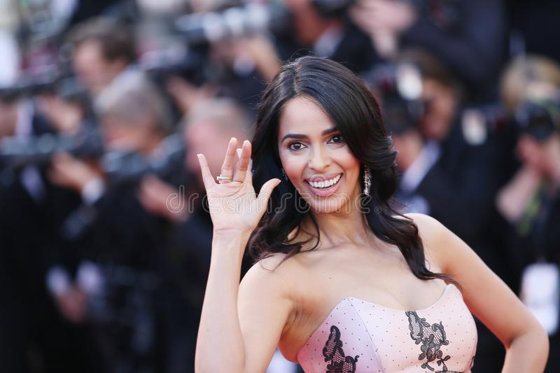 Mallika Sherawat attends the screening. Of `Girls Of The Sun Les Filles Du Soleil` during the 71st annual Cannes Film Festival at Palais des Festivals on May 12 royalty free stock photos