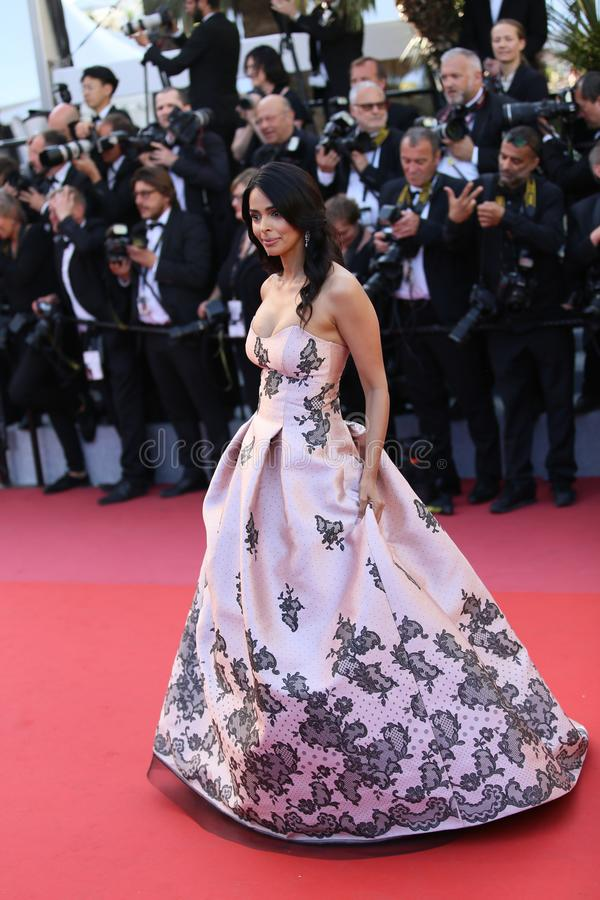 Mallika Sherawat attends the screening. Of `Girls Of The Sun Les Filles Du Soleil` during the 71st annual Cannes Film Festival at Palais des Festivals on May 12 royalty free stock photo