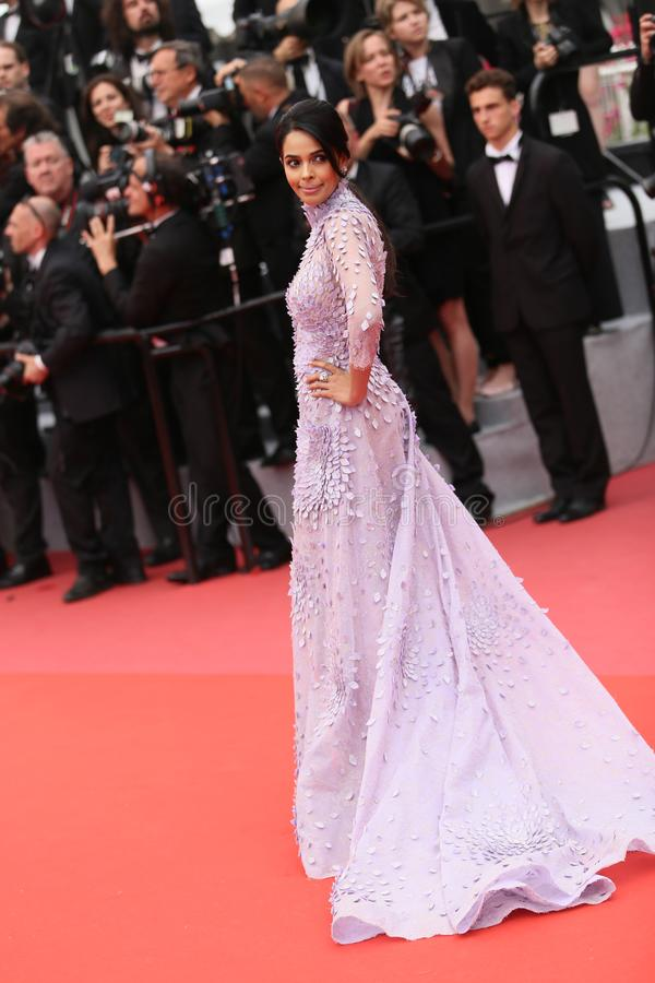 Mallika Sherawat attends the screening of `Sorry Angel`. During the 71st annual Cannes Film Festival at Palais des Festivals on May 10, 2018 in Cannes, France royalty free stock photography