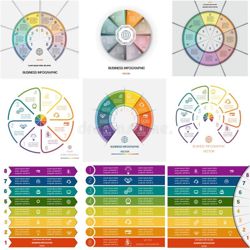MallInfographics för uppsättning 9 cykliska processar på åtta positioner stock illustrationer