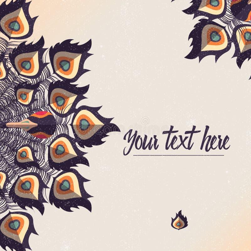Mallkort med färgrika fjädrar för påfågel och ställe för text stock illustrationer