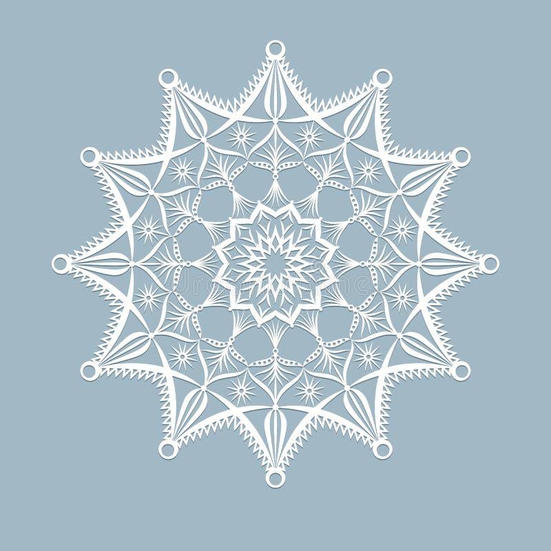 Malllaser klippte snöflingan för jul för xmas-kort som den Openwork klipptes ut ur papper för inbjudanhälsningkortet för det nya  royaltyfri illustrationer