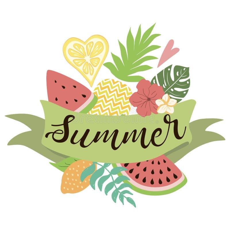 Malllogo för dekorerad tropisk uppsättning för sommartid band av fruktvektorbanret royaltyfri illustrationer