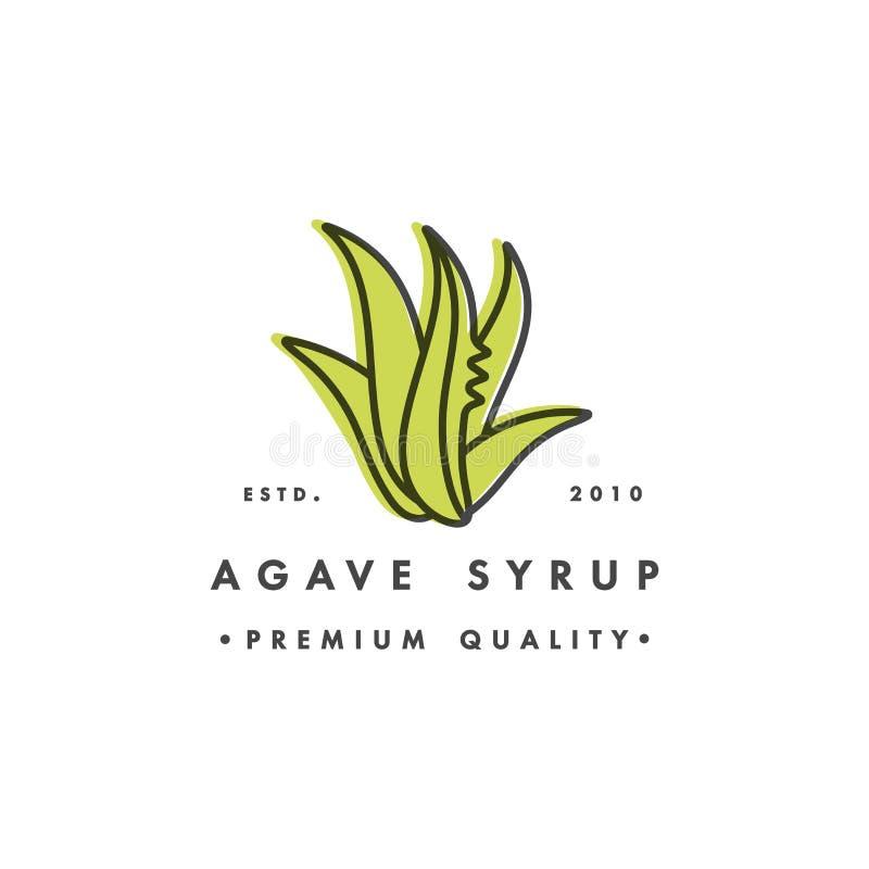 Malllogo för förpackande design och emblem - sirap - agave Logo i moderiktig linjär stil stock illustrationer