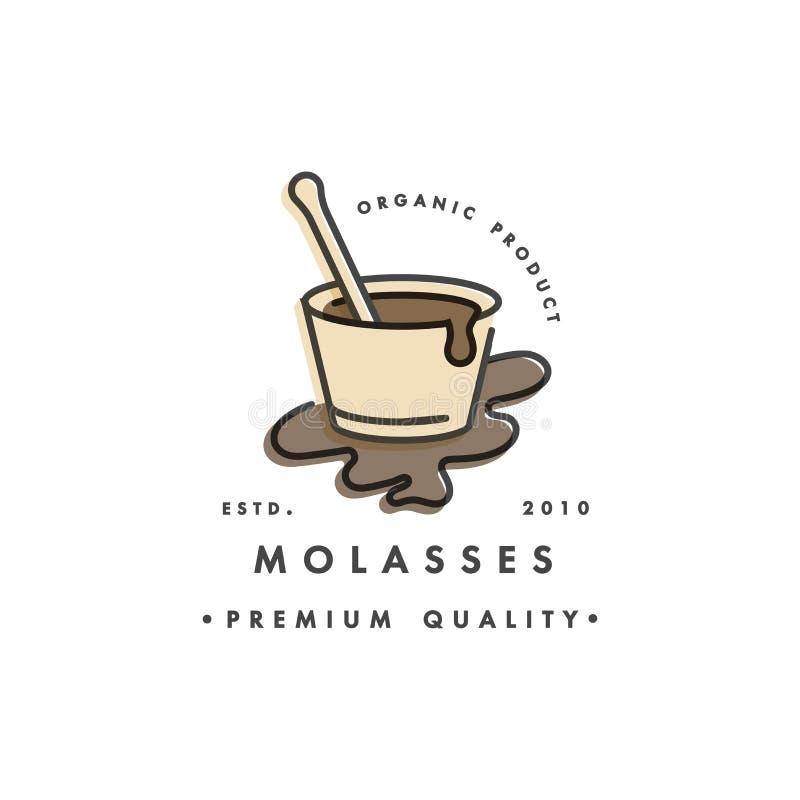 Malllogo och emblem för förpackande design - sirap och toppning - melass Logo i moderiktig linjär stil vektor illustrationer