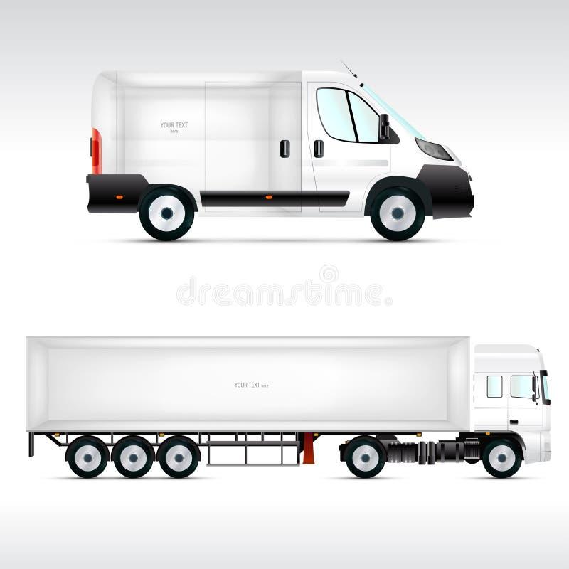 Mallmedel för annonsering, att brännmärka eller företags identitet Lastbil buss vektor illustrationer