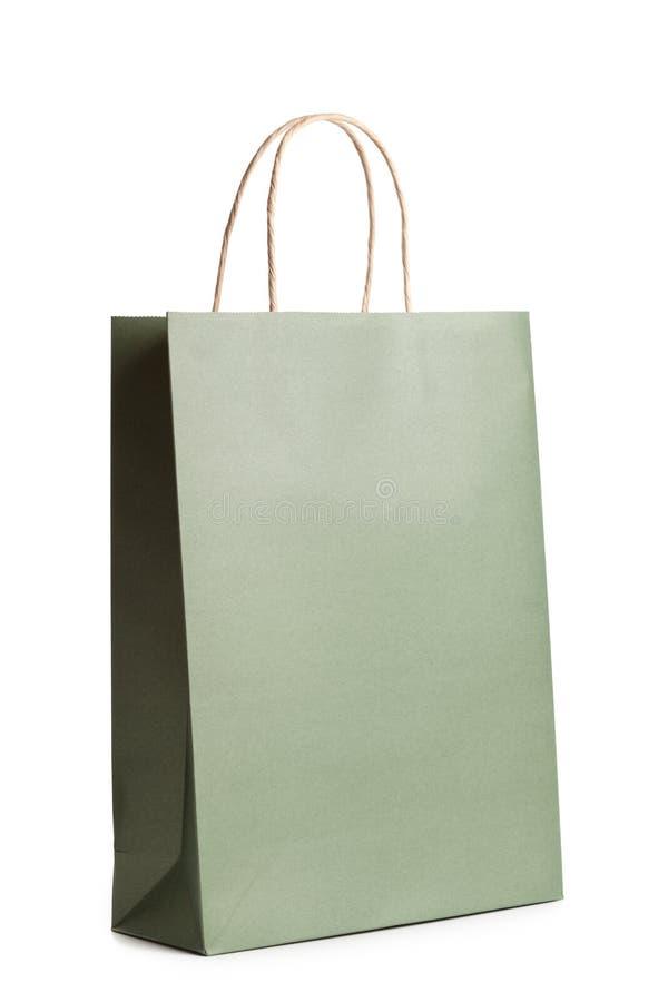 Mallmodell av påsen för detaljhandelpappersshopping som isoleras på vit Paket för gåva eller gåva royaltyfri fotografi
