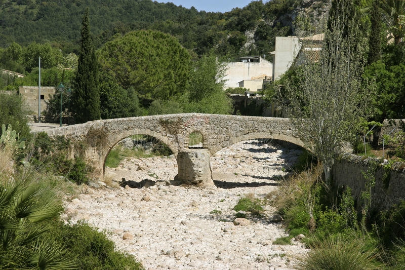 Mallorca, Balearic Islands, Spain. Historical Roman bridge in Pollensa, Mallorca, Balearic Islands, Spain, Europe royalty free stock photos