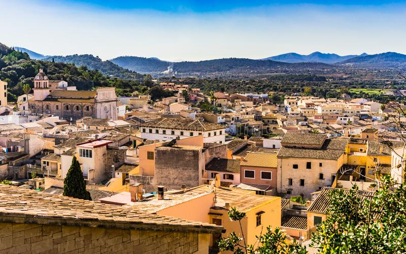 Capdepera, beautiful historic old town on Majorca island. Mallorca, beautiful view of over the old mediterranean town and landscape of Capdepera, Spain royalty free stock photography