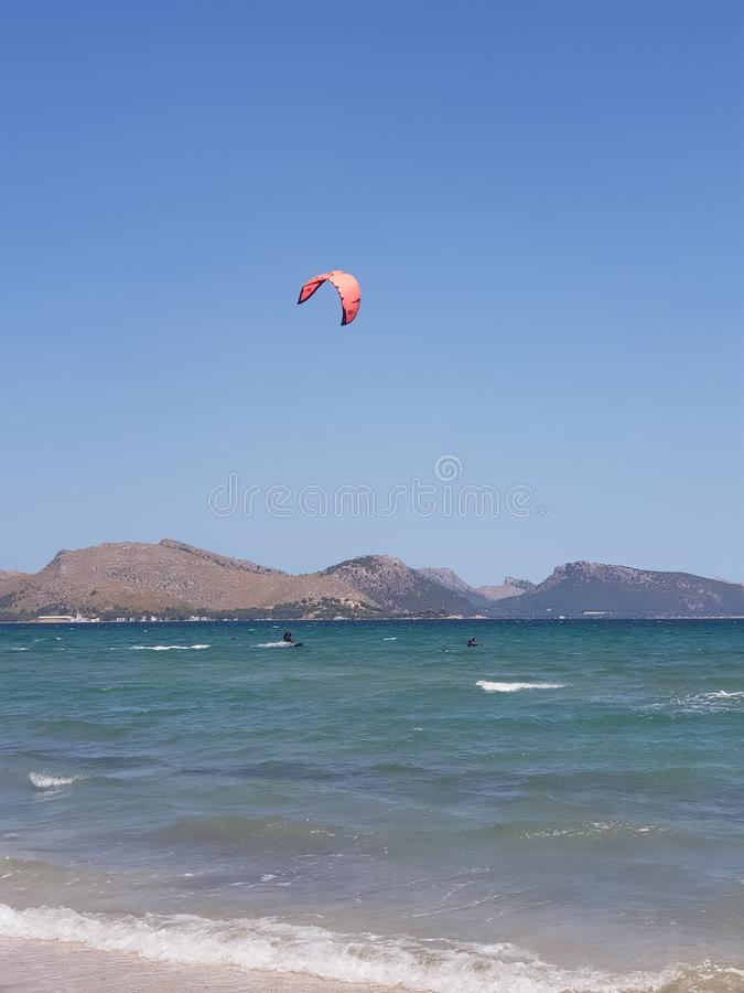 Mallorca Kiteboarding & SUP - Kitesurf & SUP Center Pollensa Bay. Spain royalty free stock image