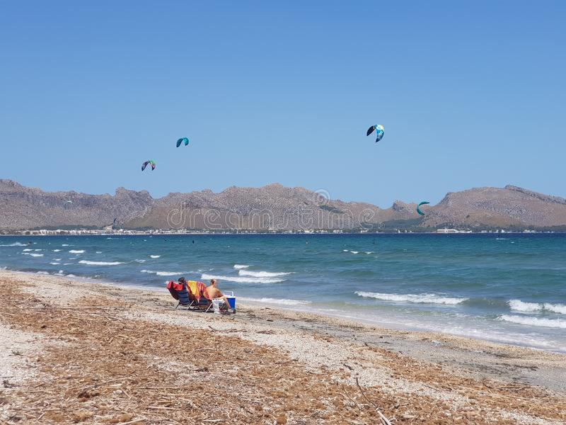 Mallorca Kiteboarding & SUP - Kitesurf & SUP Center Pollensa Bay. Spain royalty free stock photography