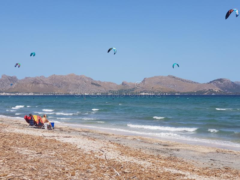 Mallorca Kiteboarding & SUP - Kitesurf & SUP Center Pollensa Bay. Spain royalty free stock photos