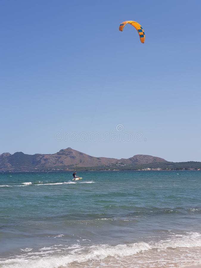 Mallorca Kiteboarding & SUP - Kitesurf & SUP Center Pollensa Bay. Spain stock photo