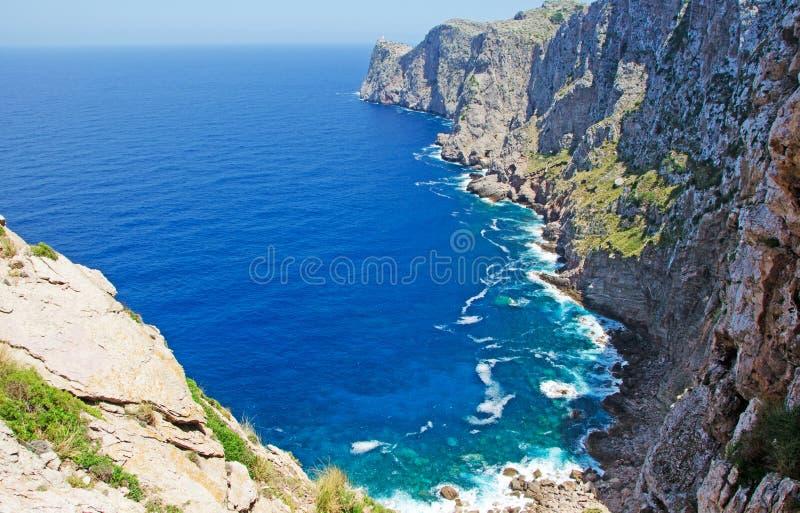Mallorca, Majorca, Balearic Islands, Spain, cliff, beach, landscape, nature. Cap de Formentor seen from Mirador del Mal Pas on June 9, 2012. Mirador del Mal Pas royalty free stock images