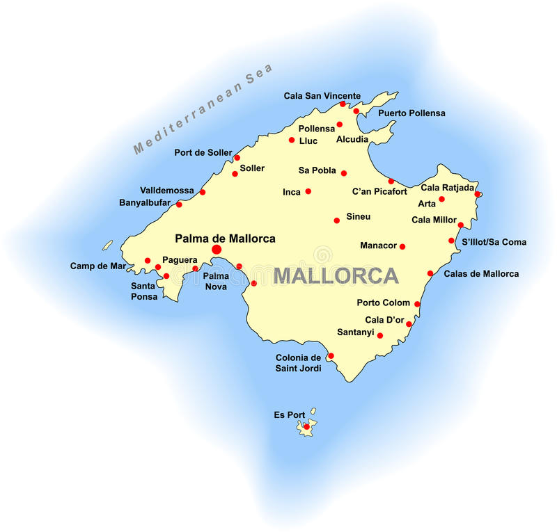 Mallorca map stock vector Illustration of mediterranean 15096197
